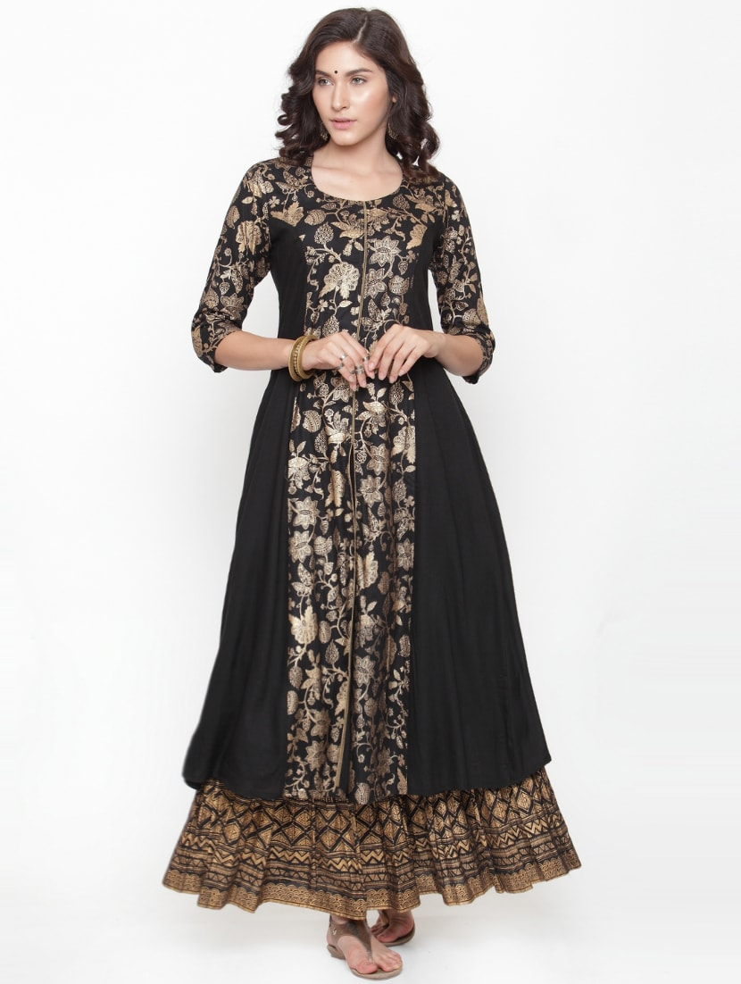 Buy Gold Foil Print Kurta Skirt Suit by Varanga - Online shopping for Sets  in India  859a06667
