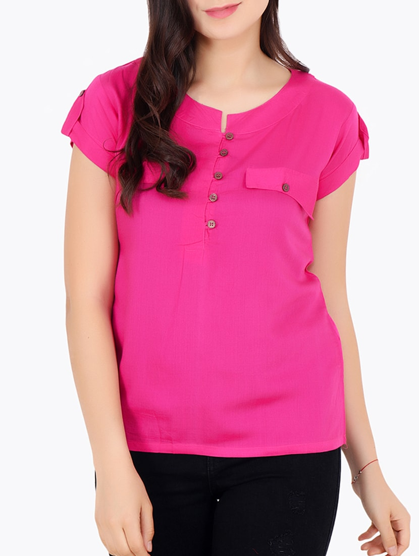 e5552955f7b Buy Pink Solid Modal Top for Women from Cation for ₹574 at 52% off ...
