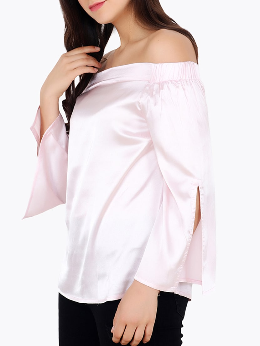 84c50adf69c Buy Pink Solid Satin Off Shoulder Top for Women from Cation for ₹1119 at 20%  off | 2019 Limeroad.com