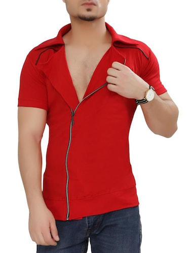 red cotton t-shirt - 15111364 - Standard Image - 1
