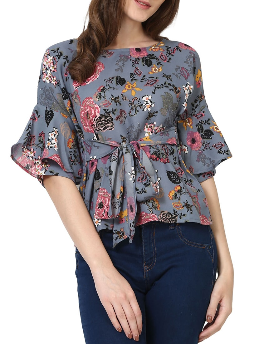 e4b76dc27d145 Buy Floral Belted Ruffle Sleeve Top for Women from Shilpkala Fns for ₹765  at 36% off