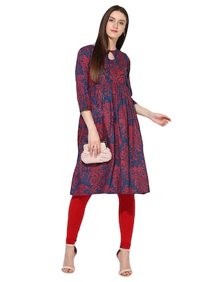 blue cotton flared kurta - 15113441 - Standard Image - 4