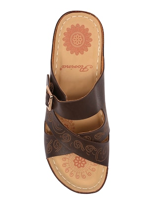 brown faux leather slippers - 15113658 - Standard Image - 4