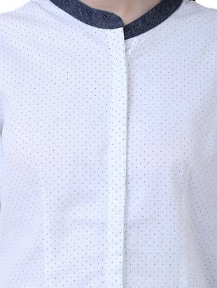 white cotton polka dotted shirt - 15114751 - Standard Image - 4