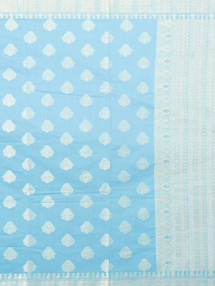 sky blue woven saree with blouse - 15114884 - Standard Image - 4