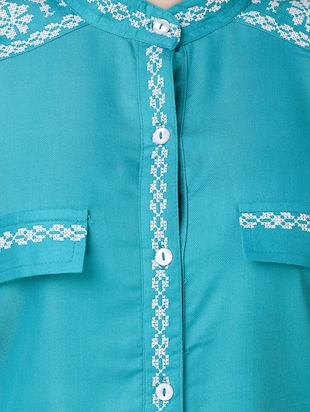 blue cotton embroidered shirt - 15115664 - Standard Image - 4