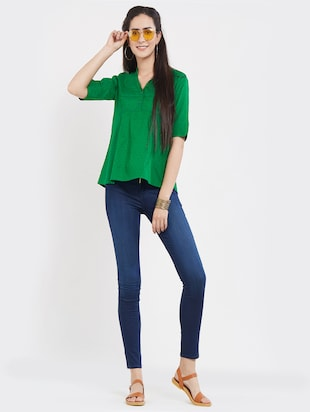 solid green cotton top - 15116266 - Standard Image - 4