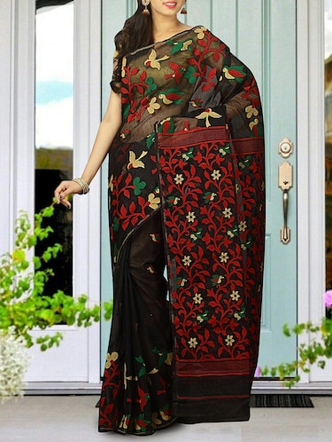 black cotton silk jamdani saree - 15116729 - Standard Image - 1