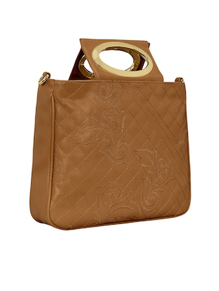 tan leatherette regular sling bag - 15116988 - Standard Image - 4