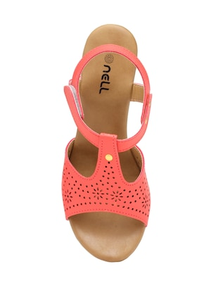 pink faux leather closed back wedges - 15117326 - Standard Image - 4
