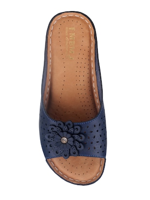 blue faux leather slippers - 15118170 - Standard Image - 4