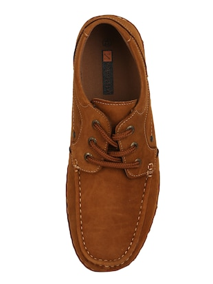 brown leatherette lace up sneaker - 15118292 - Standard Image - 4