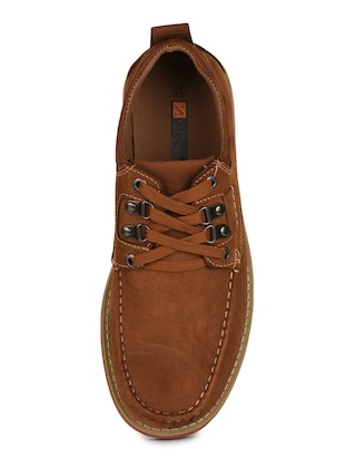 brown leatherette lace up sneaker - 15118295 - Standard Image - 4