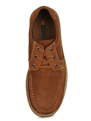 brown leatherette lace up sneaker - 15118296 - Standard Image - 4