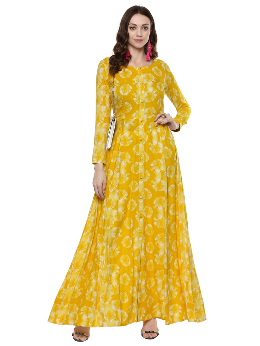 Buy Printed Yellow Gown by Indian Virasat - Online shopping for ...