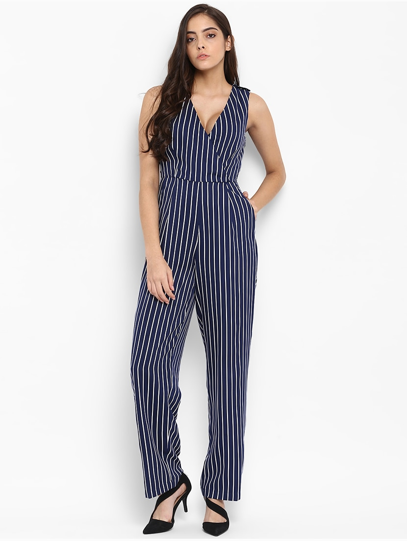 5512c70d5ec Buy Navy Blue Striped Full Leg Jumpsuit for Women from Quiero for ₹805 at  47% off