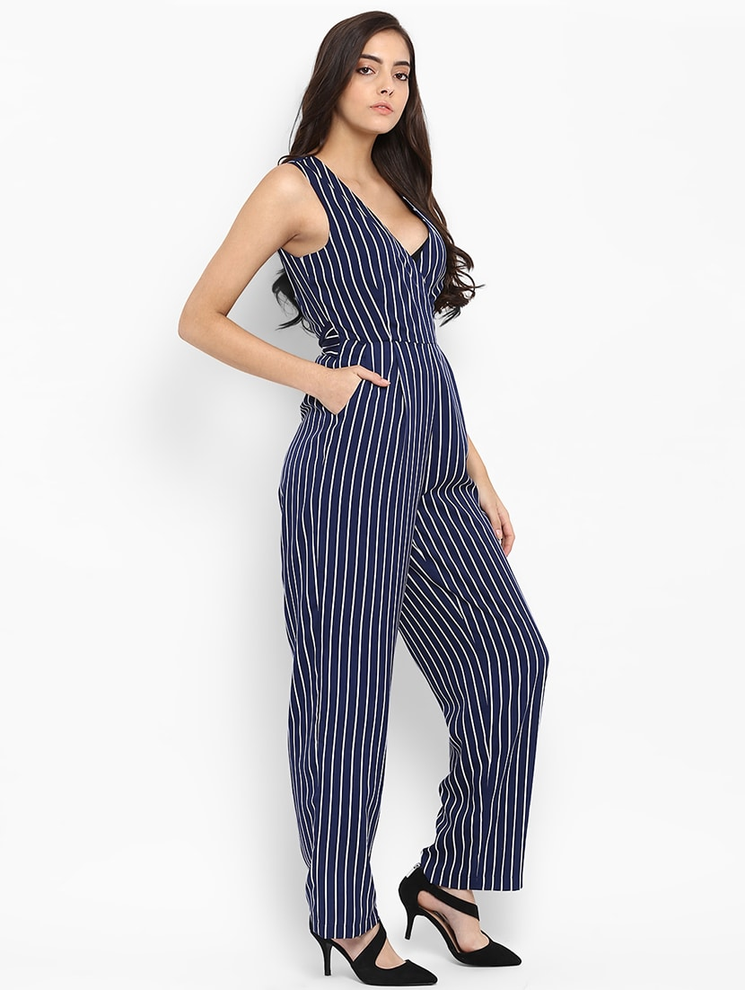 Buy Navy Blue Striped Full Leg Jumpsuit By Quiero Online Shopping