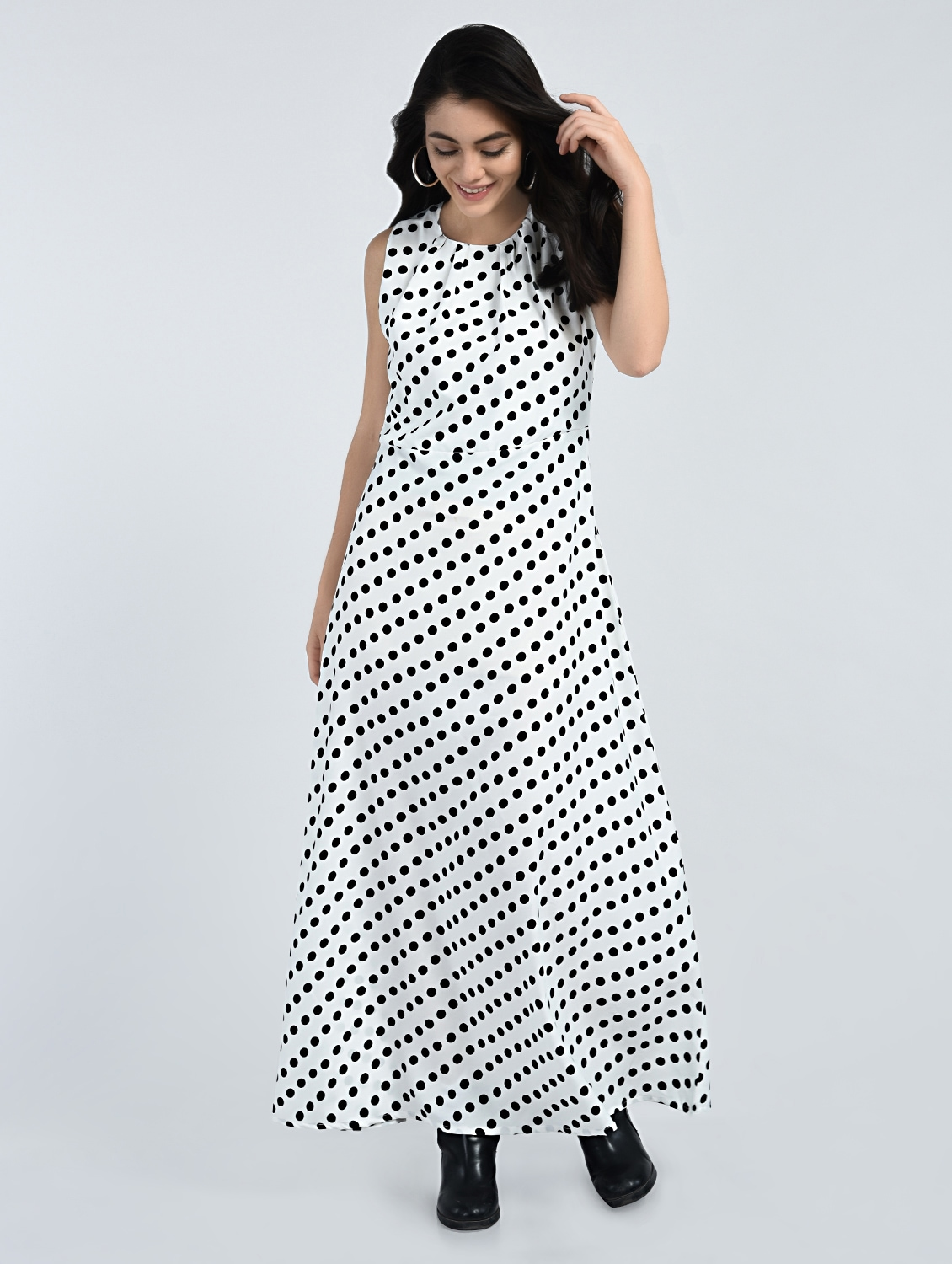 1d7914032a0 Buy Pleated Neck Polka Doted Maxi Dress for Women from A K Fashion for ₹500  at 62% off