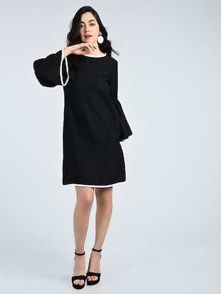 Contrast piping bell sleeved dress - 15121412 - Standard Image - 4