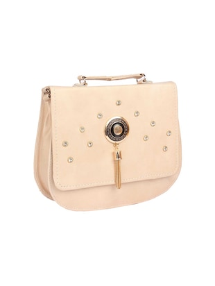 cream leatherette sling bag - 15121580 - Standard Image - 4