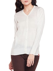 white acrylic cotton blend cardigan -  online shopping for Cardigans