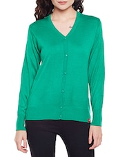 green acrylic cotton blend cardigan -  online shopping for Cardigans