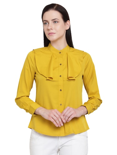 yellow solid crepe shirt - 15124114 - Standard Image - 1