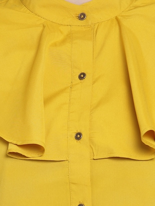 yellow solid crepe shirt - 15124114 - Standard Image - 4