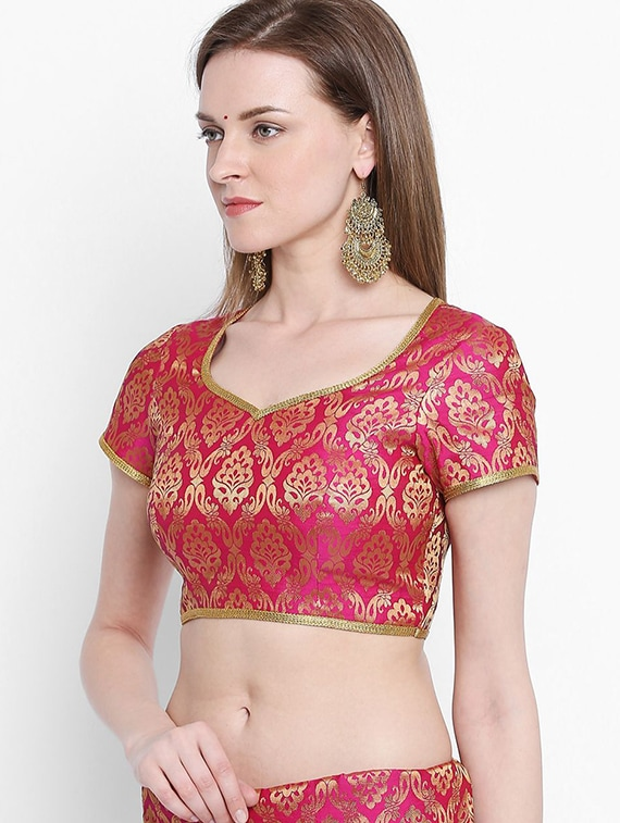 d110cd955427b Buy Pink Cotton Blend Brocade Blouse for Women from Arch Element for ₹2518  at 16% off