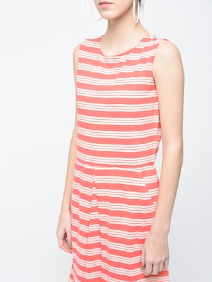 pink striped cotton a-line dress - 15136251 - Standard Image - 4