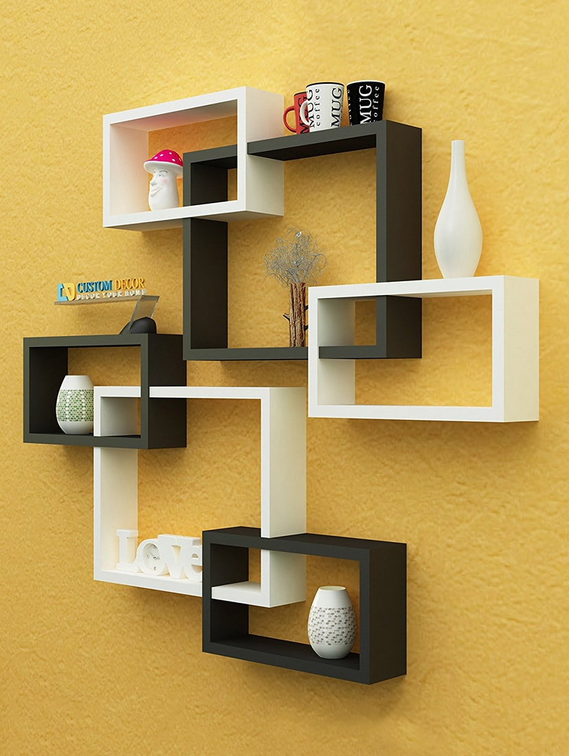 Buy Rectangular Intersecting Floating Wall Shelf Set Of 2 - Black ...
