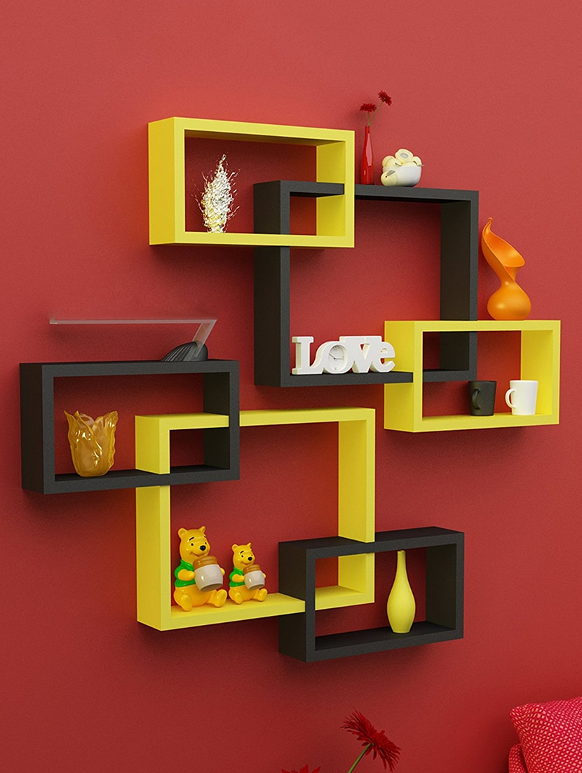 Buy Rectangular Intersecting Floating Wall Shelf Set Of 2 Black 1 Shelves Yellow By Kings Decor Online Shopping For In India 15140555