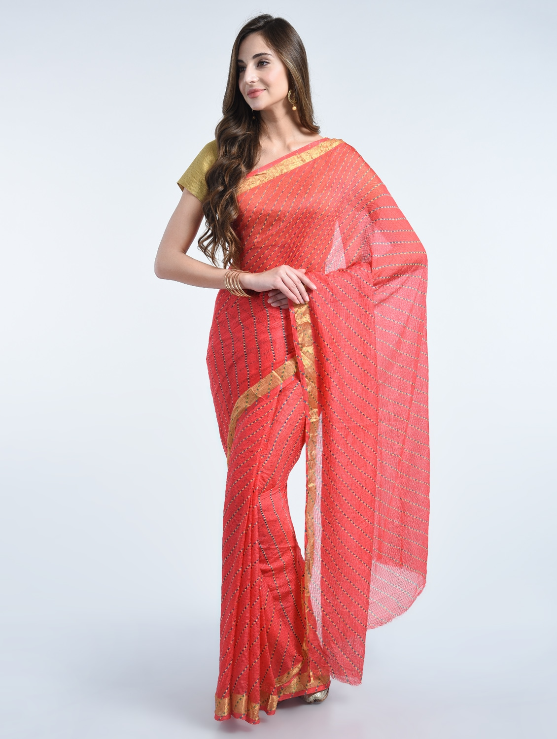 a4d231c6d8 Buy Kota Cotton Leheriya Saree With Blouse by Swades - Online shopping for  Sarees in India