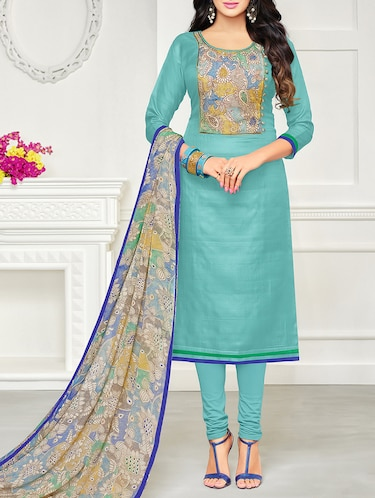 Sky blue embroidered unstitched churidaar suit - 15142414 - Standard Image - 1