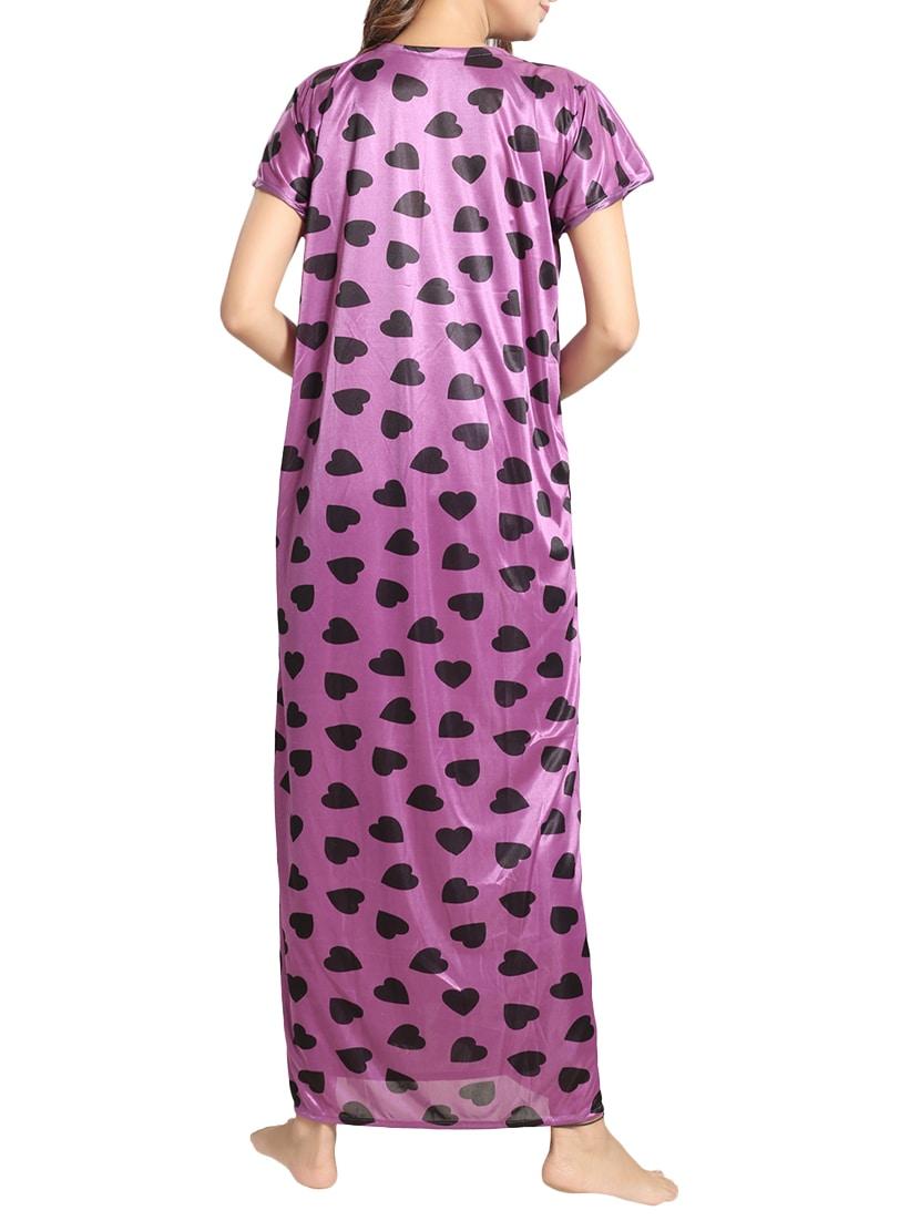 ... purple printed satin nighty with robe - 15143301 - Zoom Image - 4 0205f4561
