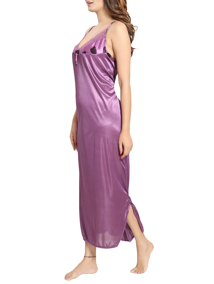 Buy Purple Printed Satin Nighty With Robe by Be You - Online shopping for  Nightwear Sets in India  158347145