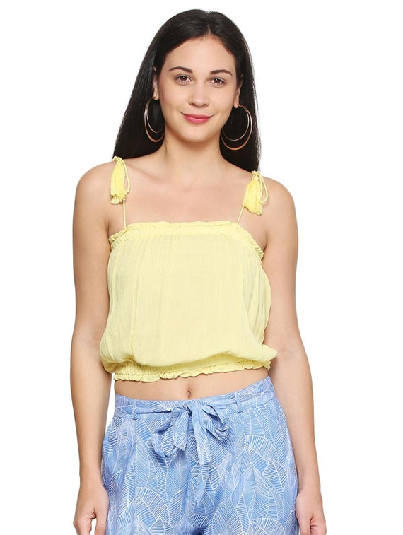 8119931bade61d Buy Yellow Solid Rayon Crop Top by People - Online shopping for Tops in  India   15144102