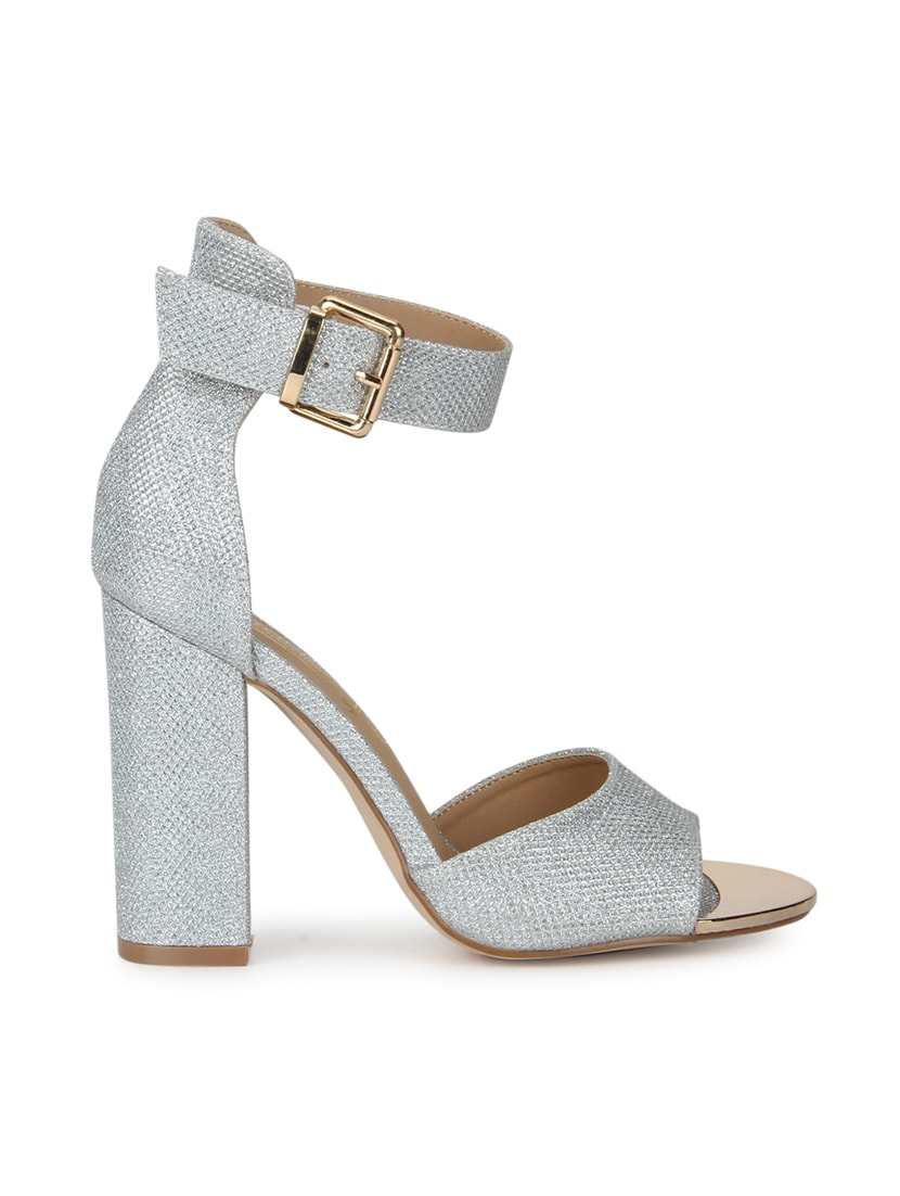 3b1aa930132 Buy Silver Patent Leather Ankle Strap Sandals for Women from Truffle  Collection for ₹2505 at 24% off