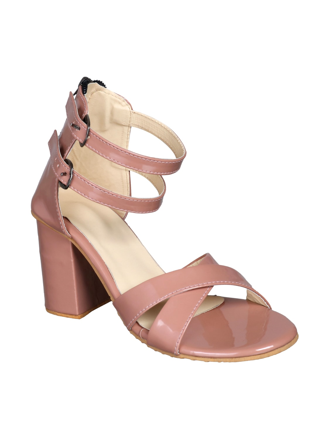 471cb8c689906 Buy Pink Patent Leather Closed Back Sandals by Lancy - Online ...