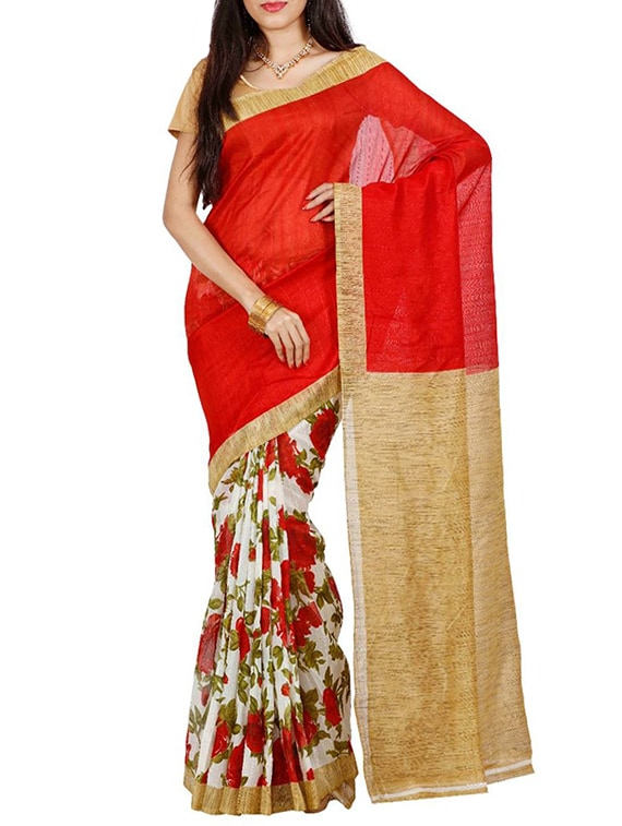 446b883b0d7f05 Buy Red Raw Silk Bhagalpuri Saree With Blouse for Women from Rashi Marketing  for ₹816 at 64% off