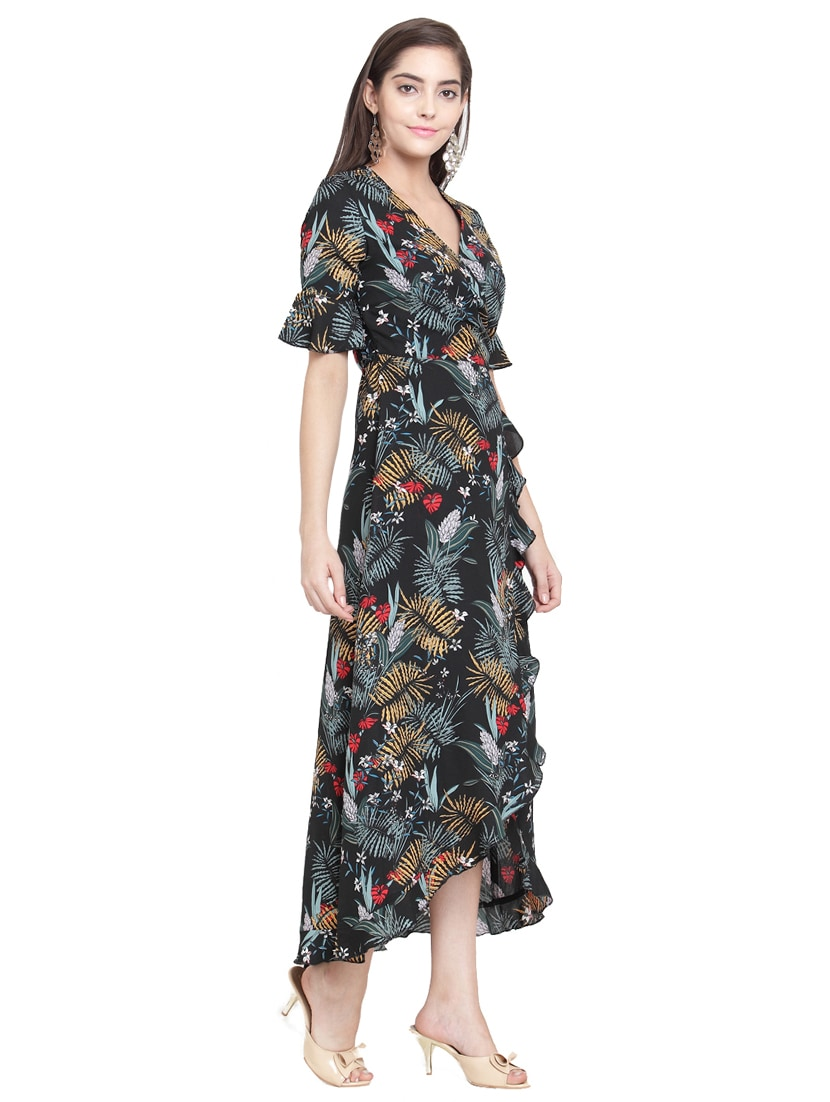 f4bffdbd11d Buy Black Tropical Crepe Wrap Dress for Women from Magnetic Designs for  ₹1329 at 30% off