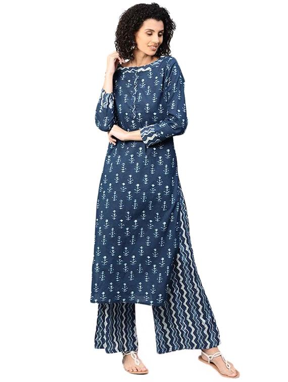 341092f742d3e Buy Indigo Kurta Palazzo Set by Jaipurkurti - Online shopping for Sets in  India