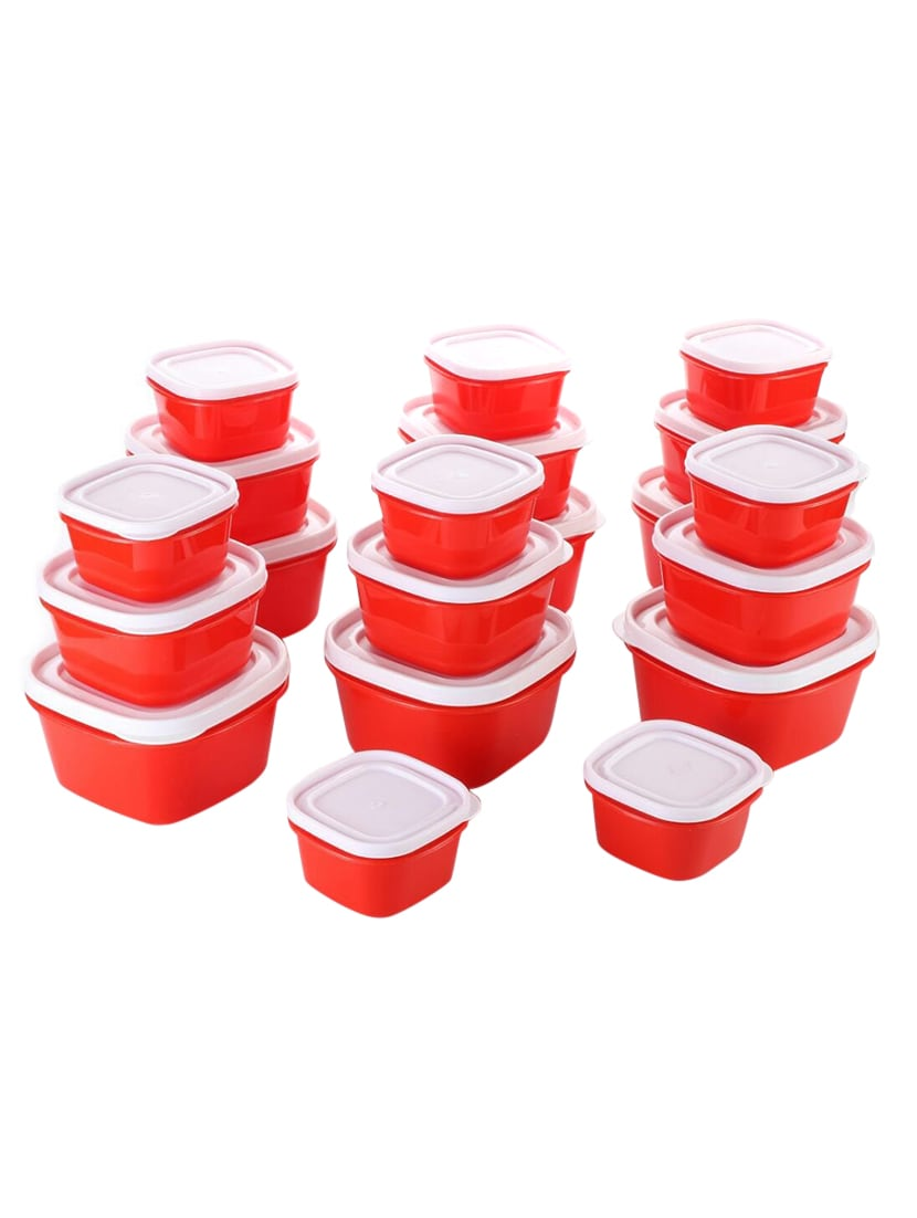 Plastic Kitchen Storage Box Container Set Cereal Jar Multipurpose Containers For Of 20 Red By Roxa Ping