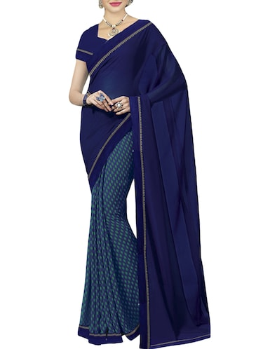 524a7f22871c1d Buy Blue Printed Saree With Blouse by Oomph! - Online shopping for ...