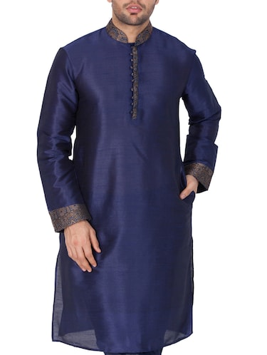 blue silk blend long kurta - 15159453 - Standard Image - 1