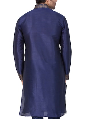 blue silk blend long kurta - 15159453 - Standard Image - 4