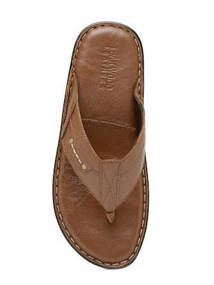 tan Leather toe separator slipper - 15160241 - Standard Image - 4