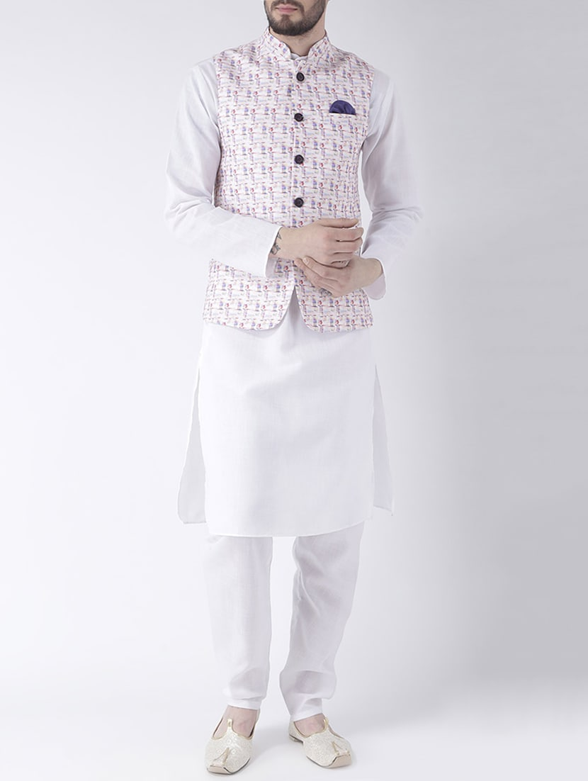 fdd24c31a Buy White Cotton Kurta Pyjama Set With Nehru Jacket for Men from Hang Up  for ₹2560 at 68% off