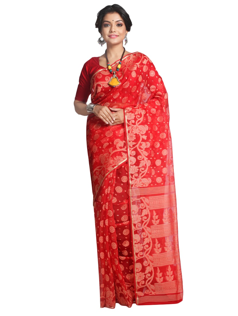 618dfedc7e60d Buy Pinkloom Red Dhakai Jamdani Saree Of Silk With Blouse for Women from  Pinkloom for ₹7330 at 33% off