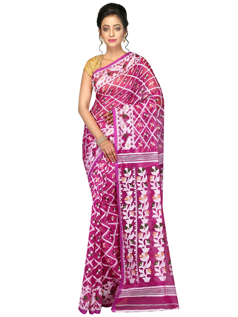 486c4488a6005 Buy Pinkloom Pink Dhakai Jamdani Saree Of Muslin Without Blouse for Women  from Pinkloom for ₹4462 at 16% off